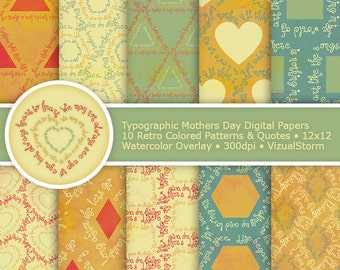 Mothers Day Digital Paper Typographic Patterns Geometric Shapes Watercolor Mom Quotes Mother Scrapbooking Paper Retro Typography Background