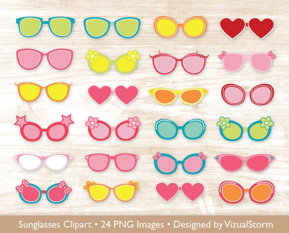 Sunglasses Clipart Photo Booth Props Png Cartoon Glasses Etsy