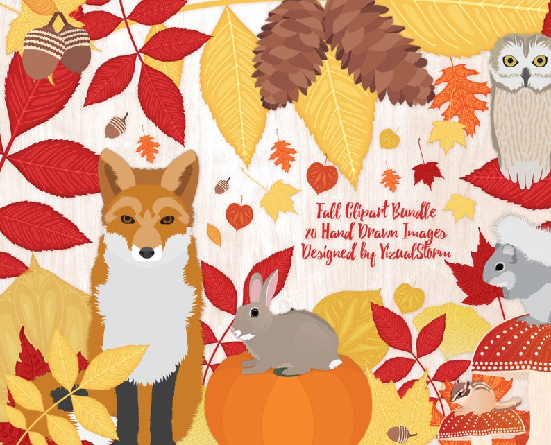 c7c13b3825e Fall Forest Clipart Autumn Woodland Animals Graphics Fall