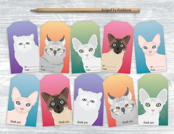 Printable Cat Party Favor Tags Kitty Cats Gift Tags Hand Drawn Etsy