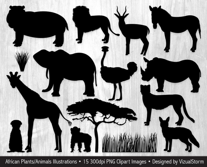image about Free Printable Forest Animal Silhouettes referred to as African Animal Silhouettes Clipart Safari Jungle Pets Serengeti Wildlife Graphics Wild Animal Africa Silhouette Safari Sbook Clipart