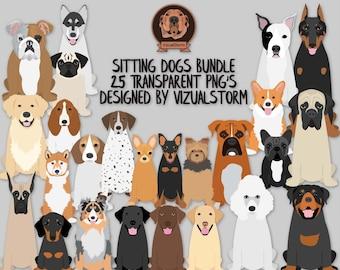 Front View Sitting Dogs Clip Art Bundle - 25 Dog Breeds - Pitbull Corgi Doxy Husky Boxer Beagle Poodle Bulldogs Basset Hound Pug Rottweiler