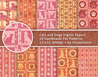 Whimsical Pet Patterns with Cats and Dogs - Digital Papers with Paw Prints Vines Kittens and Puppies Printable Scrapbook for Pet Parents