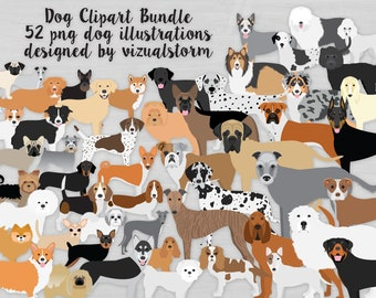 Dog Clipart Bundle - Hand Drawn AKC Dog Breeds - Small, Medium and Large, Toy, Hunting, Terriers, Family Pets, Herding, Sight/Scent Hounds