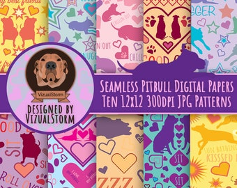Seamless Pitbull Digital Papers - Whimsical Dog Doodles with Fun Quotes and Colorful Dog Trick Illustrations Staffordshire Scrapbook Pattern