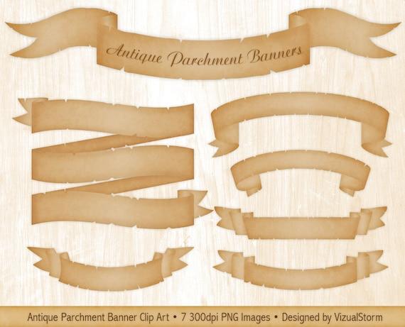 parchment banner clipart parchment ribbons vintage scroll etsy