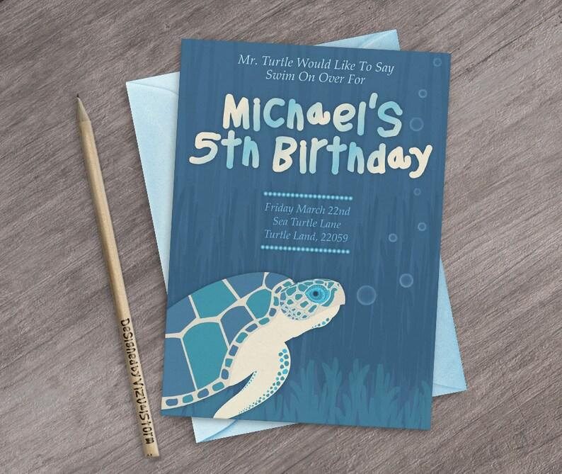 Sea Turtle Birthday Invitation Ocean Animal Party Invite Marine Life  Invites Printable Under the Sea Birthday Party Handmade Turtle Invite