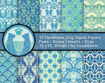 Whimsical Dogs Digital Paper - Dog Motif Patterns Paw Prints Silhouettes Hearts and Bones Printable Puppy ScrapbookIng - INSTANT DOWNLOAD