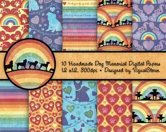 Rainbow Bridge Dog Memorial Digital Papers Printable Dog Paw Prints, Silhouettes, Hearts, Rainbows and Pet Loss Quotes - Angel Wings on Dogs