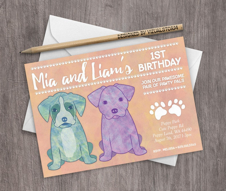 Labrador and Boxer Puppy Birthday Party Invitation Siblings Joint Birthday  Event Watercolor Puppies Invitation Printable Puppy Dog Party
