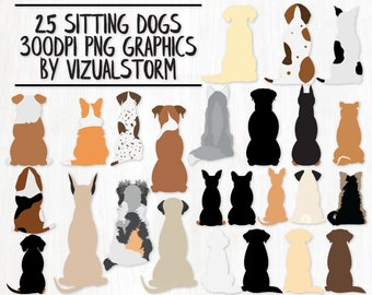 Sitting Dogs From Behind Clipart Bundle - 25 Dog Graphics Aussie Labs Corgi Pug Pitbull Boxer GSP Retriever Beagle Poodle - INSTANT DOWNLOAD