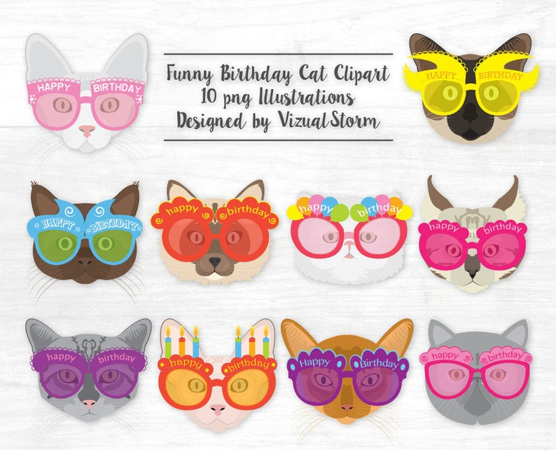 27d489646f Happy Birthday Cat Face Clipart Funny Kitty Cats Wearing