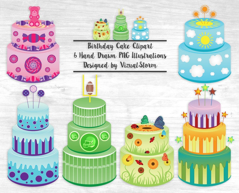 Birthday Cake Clipart Illustrations Flower Butterfly