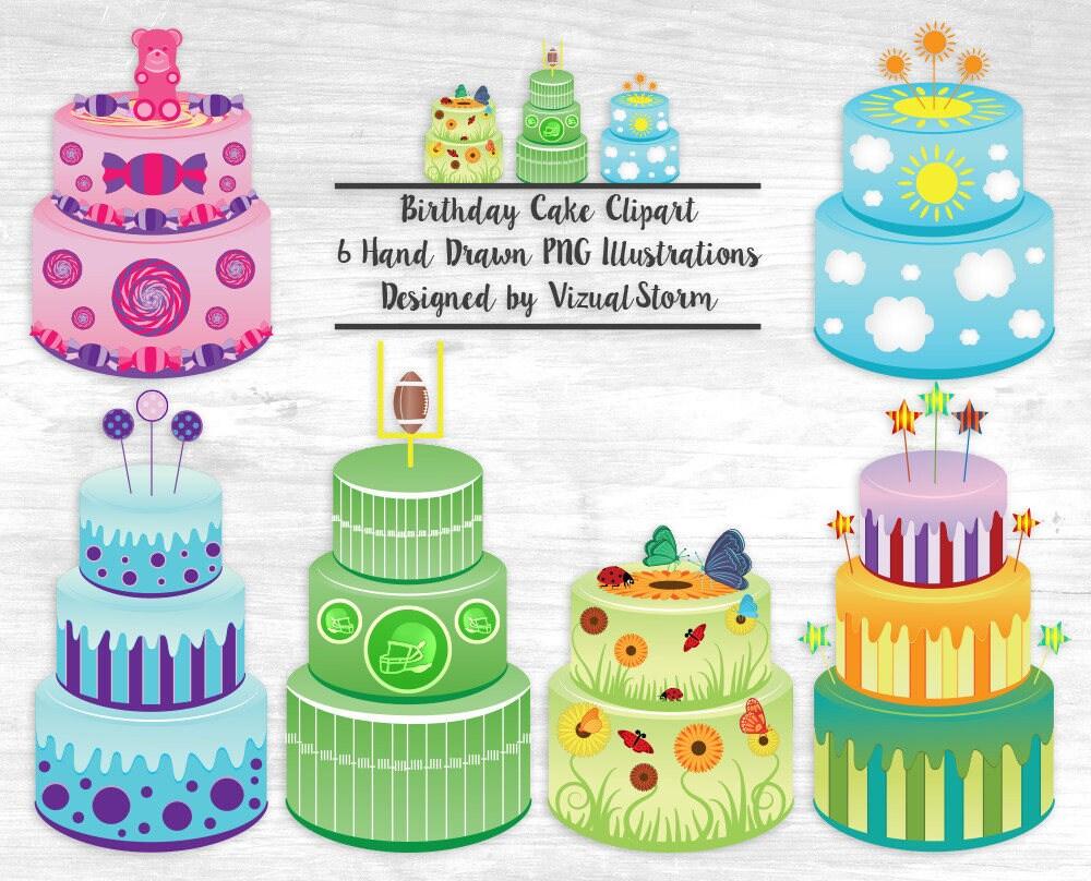 Birthday Cake Clipart Cake Illustrations Flower Cake Butterfly Etsy