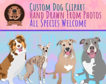 Custom Pet Clipart - Personalized Animal Illustrations Digitally Hand Drawn From Photos - Any Position for Memorials Small Business Designs