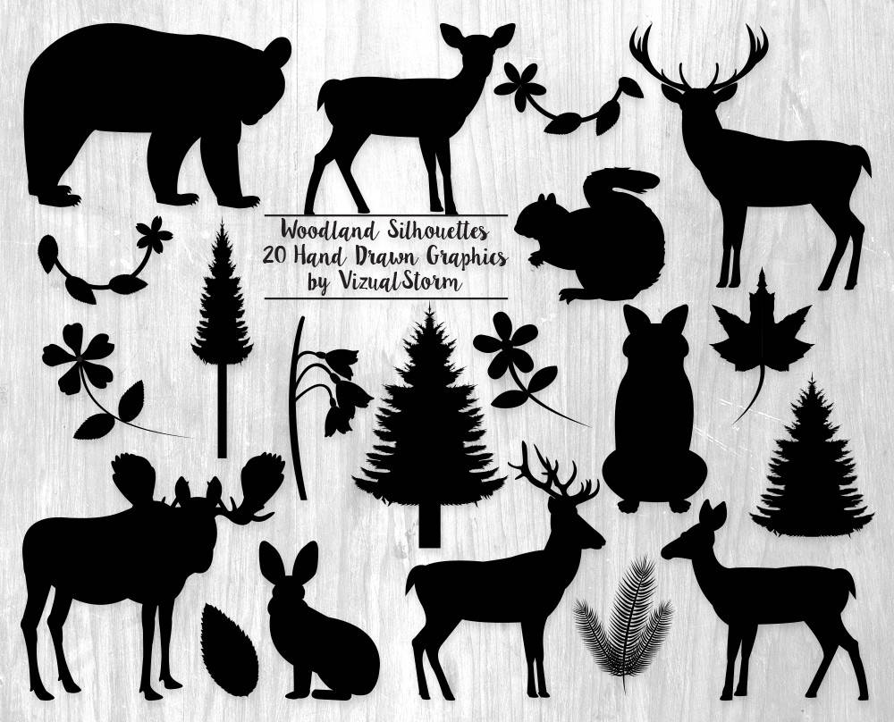 image relating to Free Printable Forest Animal Silhouettes named Woodland Silhouettes Clipart Forest Animal Silhouette Clip Artwork Graphics Bouquets Leaves Vegetation Pets Woodland Animal Sbook Silhouettes