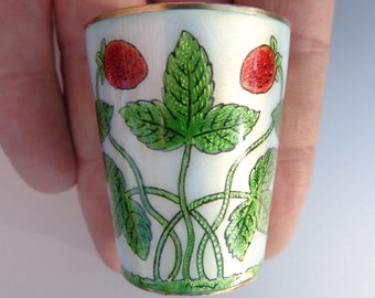 Fabulous Circa 1900 Silver Enamel Guilloche Berry Strawberry Shot Cup Love Goblet ! Strawberries Leaves Plants