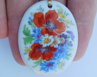 Lovely Art Nouveau 1900 Meissen Silver Porcelain Masterly Hand Painted Enamel Poppy Flowers Pendant !