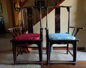 Incredible Authentic Original 18th Century Pair Chinese Ming Qing Dynasty Yoke Back Chairs (2) China Extremely Rare