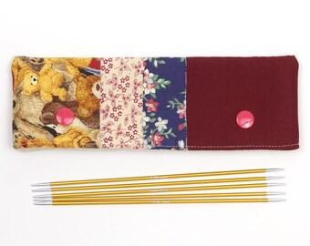 DPN case for 6 inch / 15cm sock needles, teddy bear patchwork needle keeper