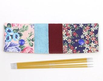 "DPN cozy for 15cm / 6"" knitting needles, floral patchwork DPN keeper, gift for knitter"