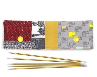 Patchwork DPN cozy for 6 inch / 15cm sock knitting needles, cat DPN holder