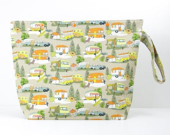 Caravan large project bag for knitting, holiday storage bag, zipperless 6 skein sweater knitting bag with snaps