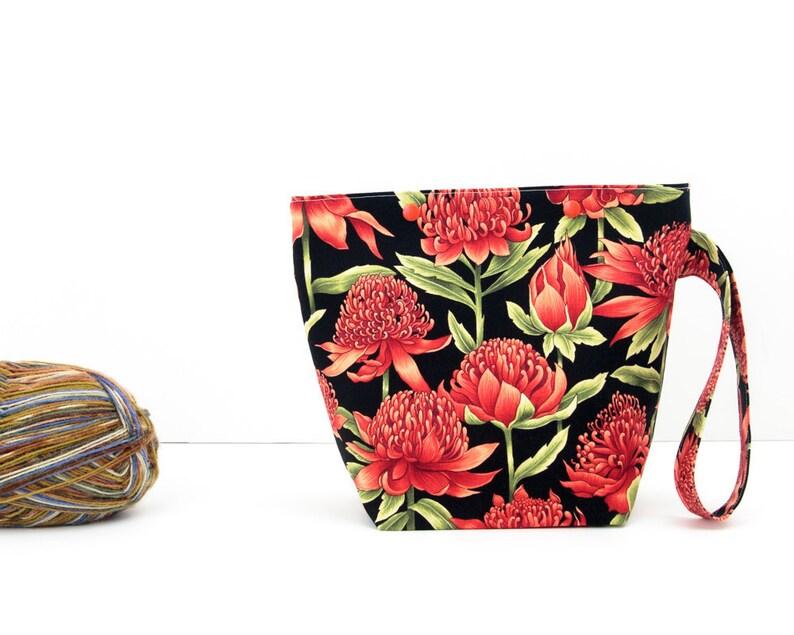 Waratah project bag, Australian native plants knitting bag, black sock  project bag with red flowers, zipperless yarn craft storage