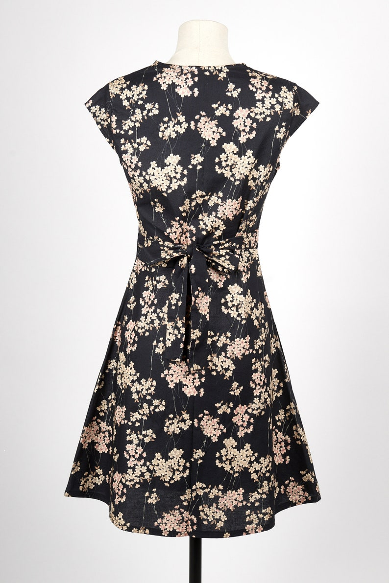 9d4268f2661 Crossover Dress in black sakura japanese fabric NOA