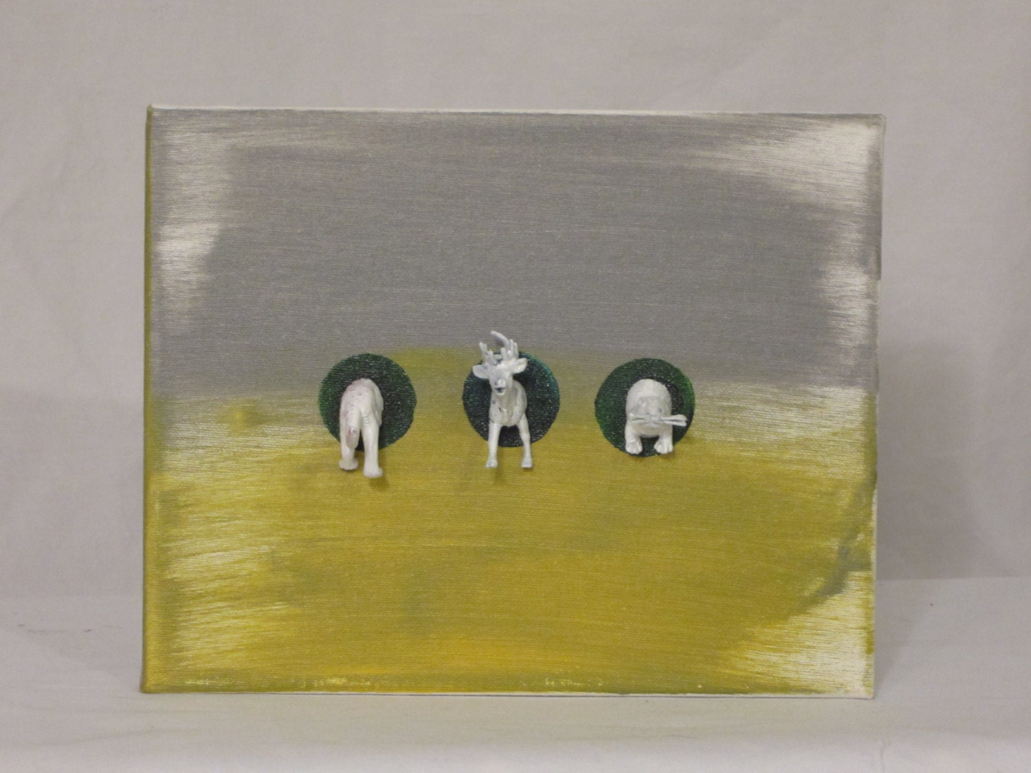 Animal Halves on 7x9 Canvas Wall Hanging Faux Taxidermy