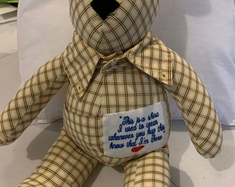 Memory Bear made from a  loved ones clothing