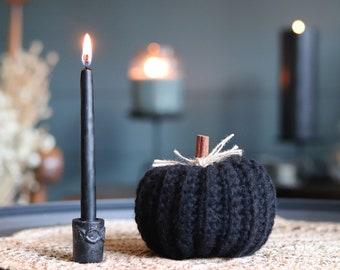 Handmade Crochet Black Pumpkin and Hand dipped Black Farm House Candle Set. Fall Decor, Autumn Display, Halloween Decor