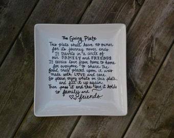 The Giving Plate - Custom Serving Plate - Thanksgiving Plate - Christmas Plate - Pay It Forward - Hostess Gift - Cookie Plate - Holiday
