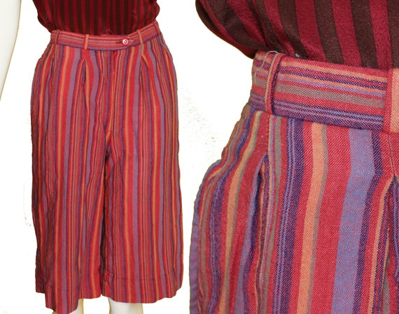 XS 70s CHRISTIAN DIOR Striped Linen Shorts Bermuda