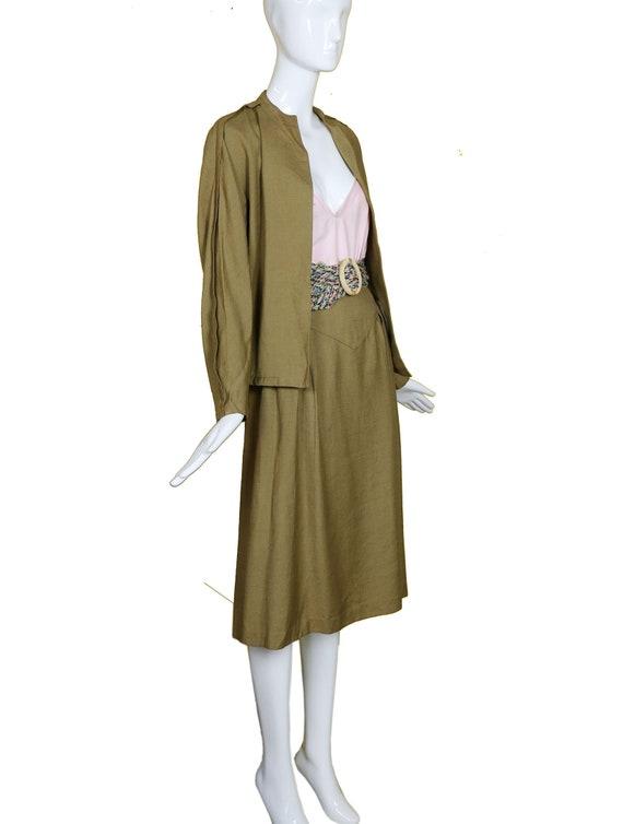 Minimalist 70s/80s Linen Suit/Taupe Linen Skirt J… - image 9