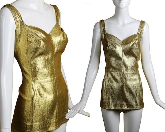 50s/60s Cole Gold Lurex Swimsuit Medium/Gold One P