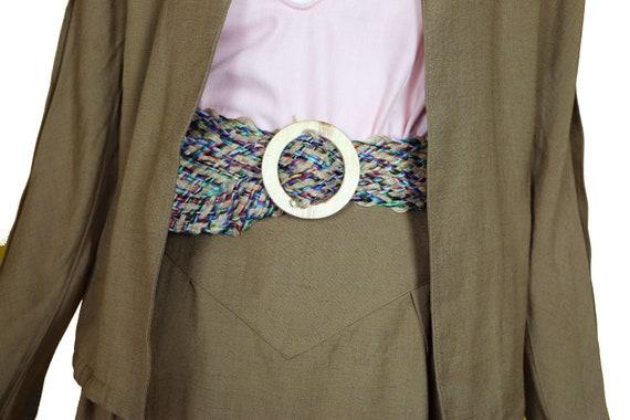 Minimalist 70s/80s Linen Suit/Taupe Linen Skirt J… - image 3