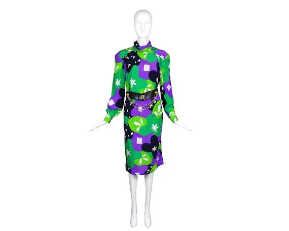 80s Travilla Colorful Abstract Silk Dress/Purple … - image 4