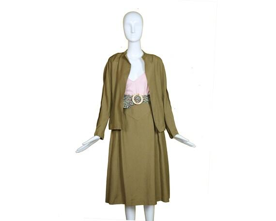 Minimalist 70s/80s Linen Suit/Taupe Linen Skirt J… - image 7