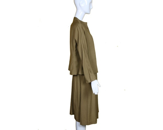 Minimalist 70s/80s Linen Suit/Taupe Linen Skirt J… - image 8