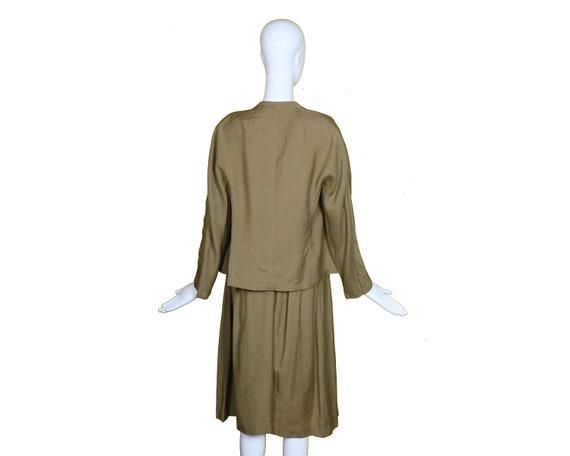 Minimalist 70s/80s Linen Suit/Taupe Linen Skirt J… - image 4