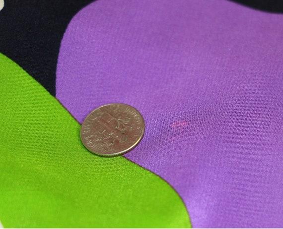 80s Travilla Colorful Abstract Silk Dress/Purple … - image 7