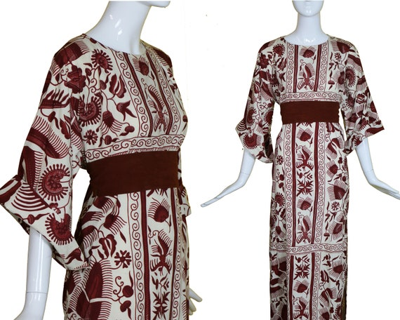 70s Cotton Batik Kaftan Birds/70s Maxi Dress/Cotto