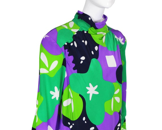 80s Travilla Colorful Abstract Silk Dress/Purple … - image 5