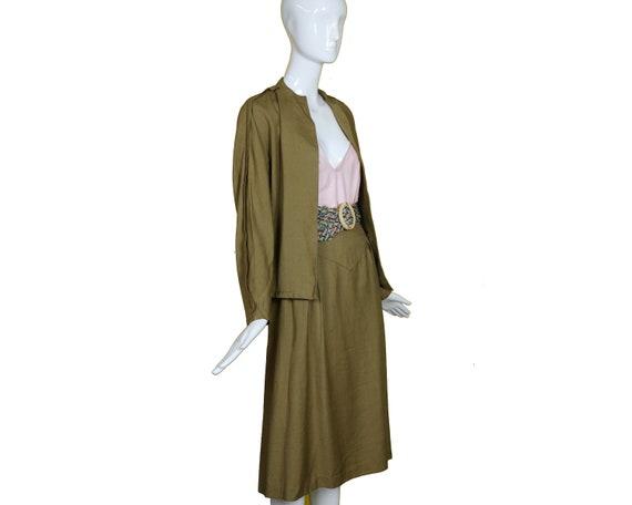Minimalist 70s/80s Linen Suit/Taupe Linen Skirt J… - image 1