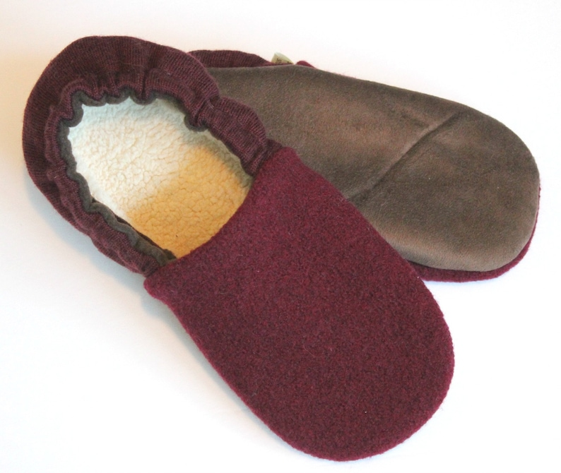 319c02a23e2c7 Mom Gift - Wool Slippers size 7-8 - Gift for Her - Garnet - Wine Lover Gift  - Wife Gift
