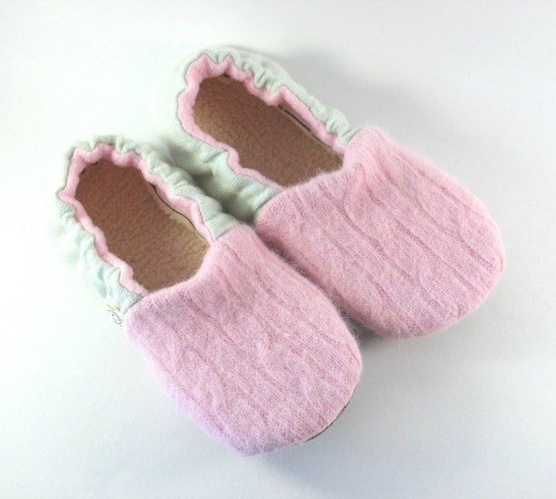 8ac0f40765e99 Wool Slippers - Girls Slippers - Cashmere Slippers - Womens Slippers size  5-6 - Gift for Her - Breast Cancer Gift