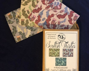 Scottish Thistle blank note cards - 6 card gift set with original thistle pattern by Rosie Ferne Illustration