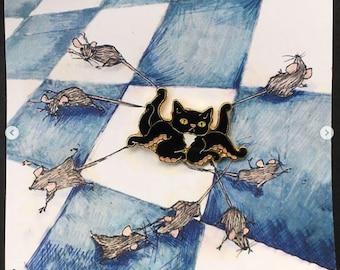 Catipus cat octopus enamel pin, cute animal mashup tentacle kitty cat lady gift hard enamel pin