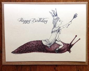 Slug Queen birthday card, quirky whimsical handmade card
